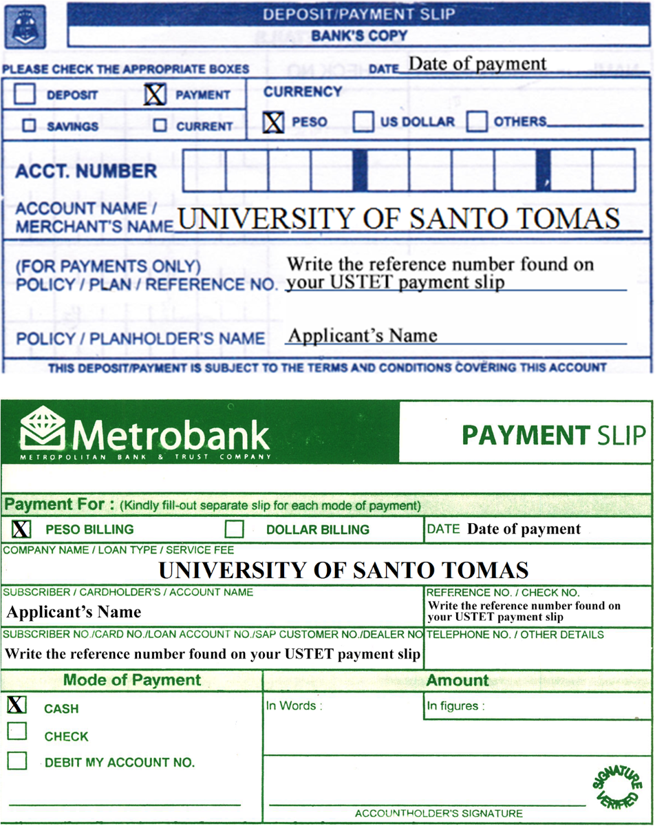 Metrobank and BPI Payment Slip
